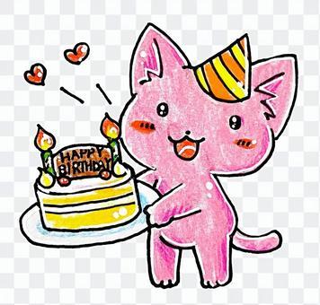 生日蛋糕和貓
