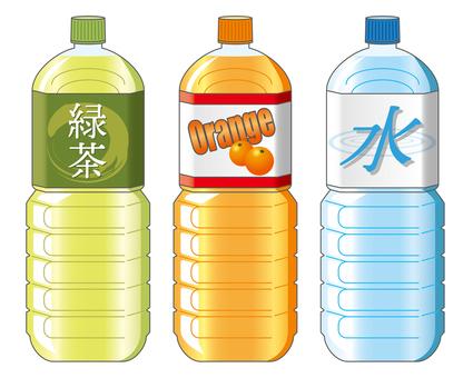 페트병 3 종 (녹차 · 오렌지 · 물)