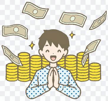 A lot of money, a rich man, a pile of money