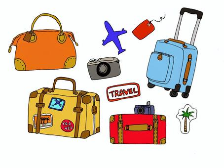 旅行插圖手繪(與顏色)
