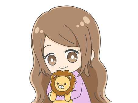 Girl with a lion plush