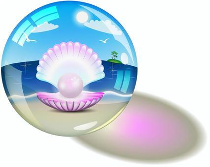 在沙灘上盛有珍珠牡蠣的玻璃球