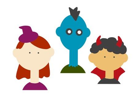 三人裝扮成萬聖節的插圖