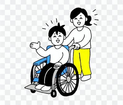坐輪椅的男女(簡單)