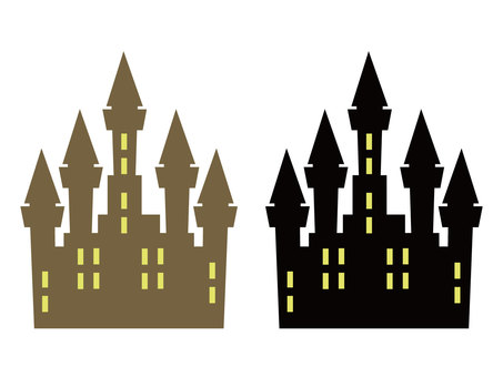Two sets of castle silhouette illustrations