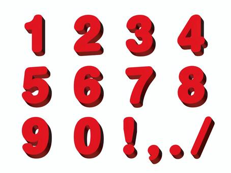 Three-dimensional number red 2