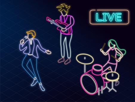Isometric band playing neon tube