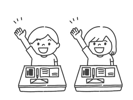 孩子們上課時舉手/印刷插圖