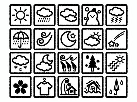 手繪天氣圖標set_monochrome