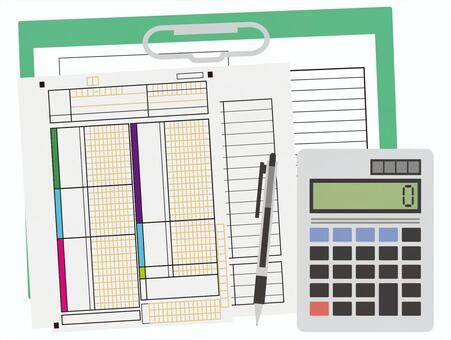 Calculation document, calculator, calculation, ballpoint pen, settlement statement