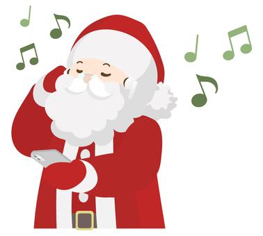 聖誕老人用耳機聽音樂(上半身)