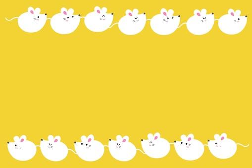 圓形鼠標框/白色,芥末色