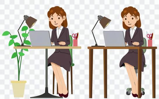 文書工作的女人