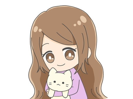 Girl with a stuffed cat