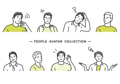 線條藝術簡單人物插圖集