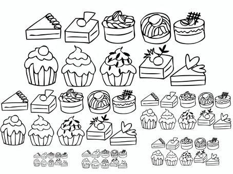各種蛋糕(線條畫)