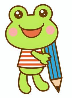 鉛筆 書く 勉強 カエル 蛙
