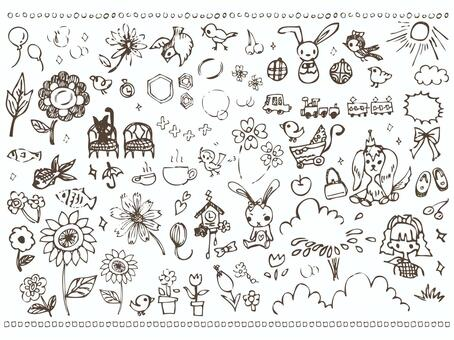 手寫的少女可愛的插圖材料鳥