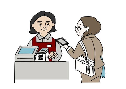 在收銀台工作的外國女性