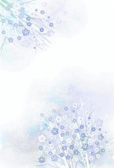 水彩風寒色の小花のポストカードタテ