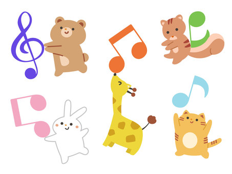 Animals playing with musical notes