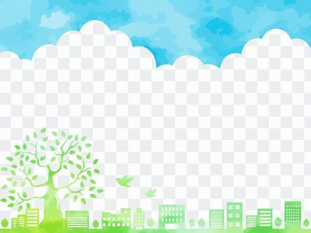 푸른 하늘과 초록의 거리 풍경 배경 소재
