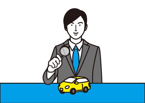 商人和汽車評估的形象