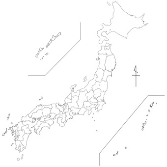 White background map Japan nationwide 【Can be divided into prefectural parts】