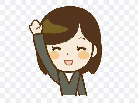 成年女性A-44舉起一隻手