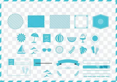 季節性材料119夏季圖標框架集