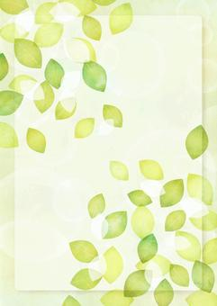 Watercolor style fresh green leaves and frame background