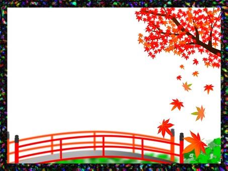京都風格的秋葉和紅橋架②