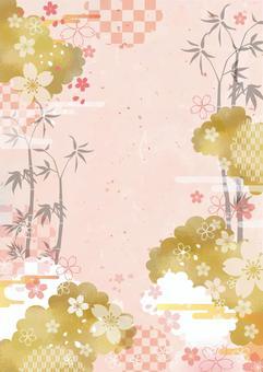 桜と竹の和風調フレーム