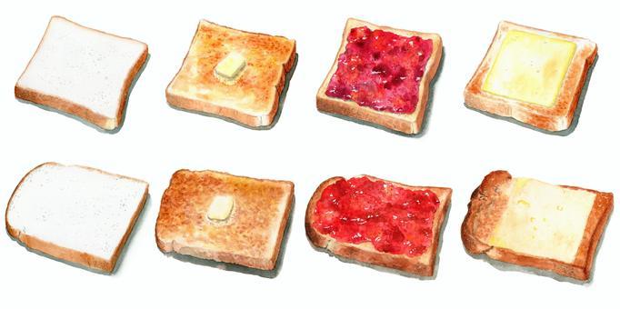 水彩で描いたいろいろな食パンの食べ方