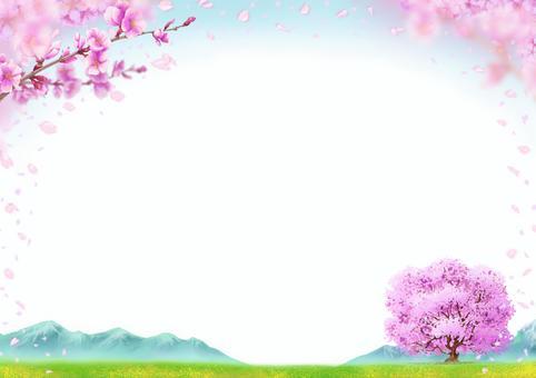 櫻花風景插畫風景畫框