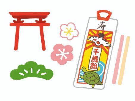 千歲糖果和Shichigosan插圖