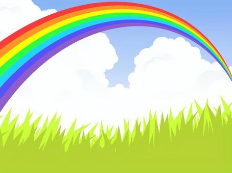 草原和彩虹橋(7彩色彩虹)彩虹清晰