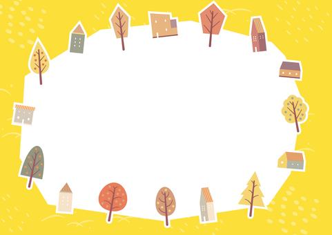 可愛的房子和秋葉 2 的秋天背景
