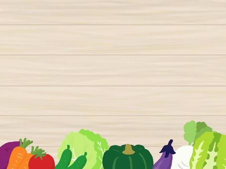 蔬菜和木紋框架