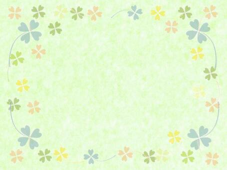 Yellow-green background · Clover frame