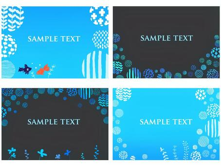 Blue background set of goldfish and aquatic plants and bubbles