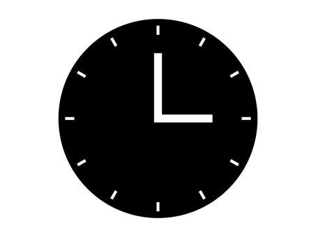 Simple clock icon: Black: 12 scales