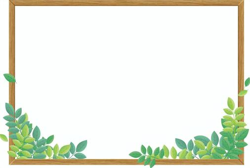 Wooden frame and leaves