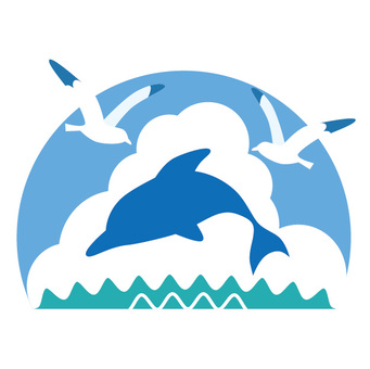 Dolphins and seabirds
