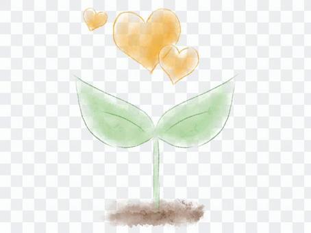 수채화의 떡잎과 오렌지색 하트