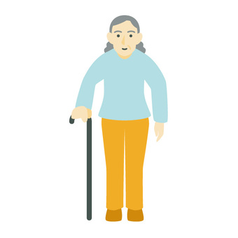 A grandmother walking with a cane (1)