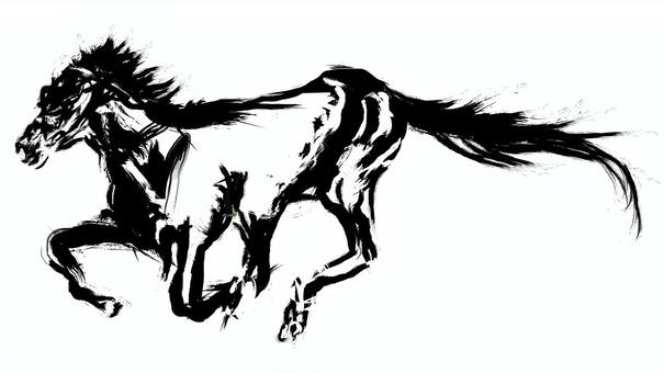 馬動物馬馬年手寫刷插圖插入圖片