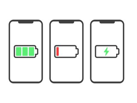 Smartphone charging icon set