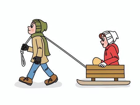 戀人玩雪橇