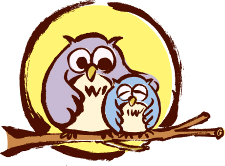 Handmade illustration of owl and owl parent and child